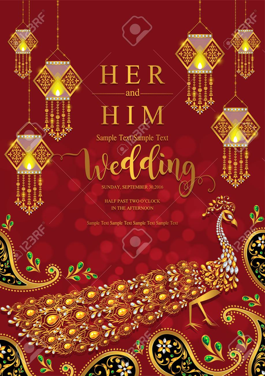Indian Wedding Invitation Card Templates With Gold Patterned ...