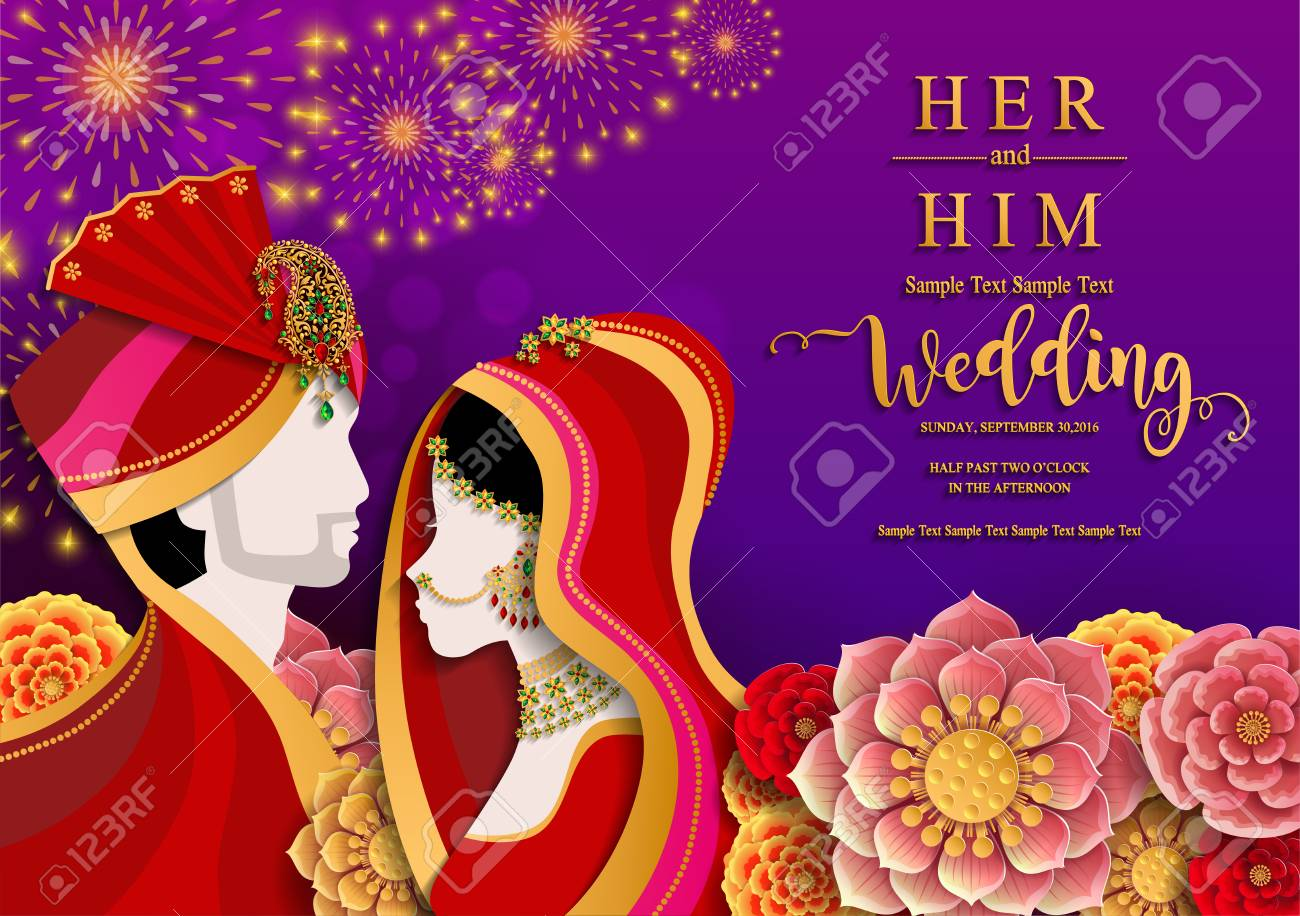 Indian wedding Invitation card templates with gold patterned and crystals on paper color Background. - 103824794