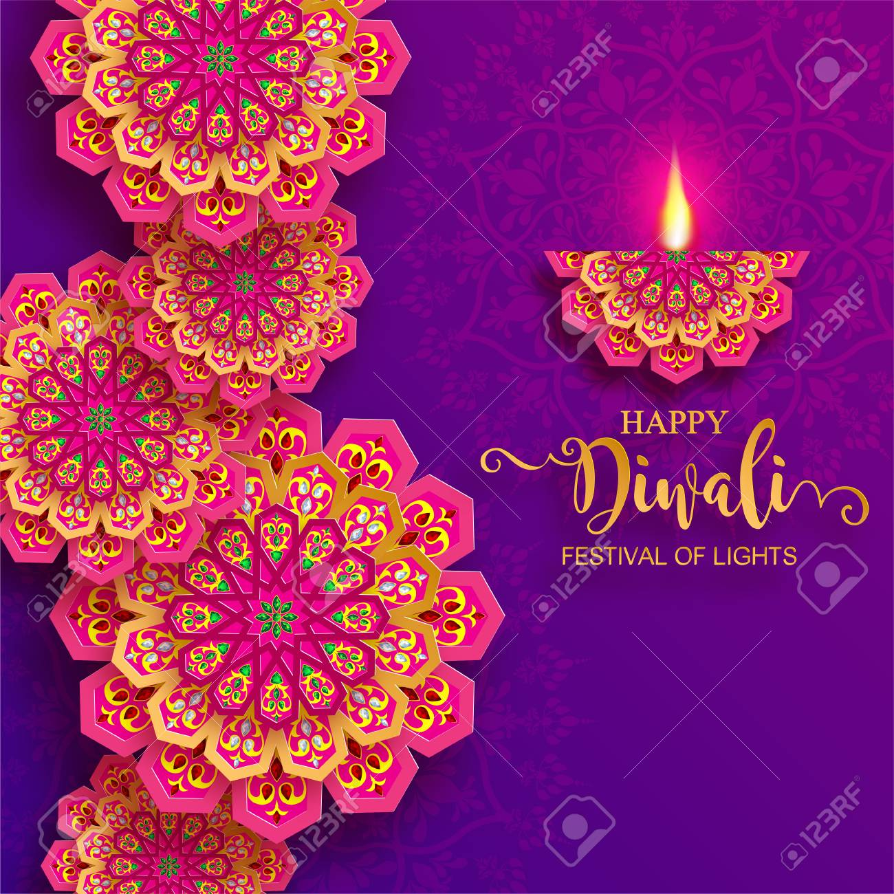 Happy Diwali festival card with gold diya patterned and crystals on paper color Background. - 109285134