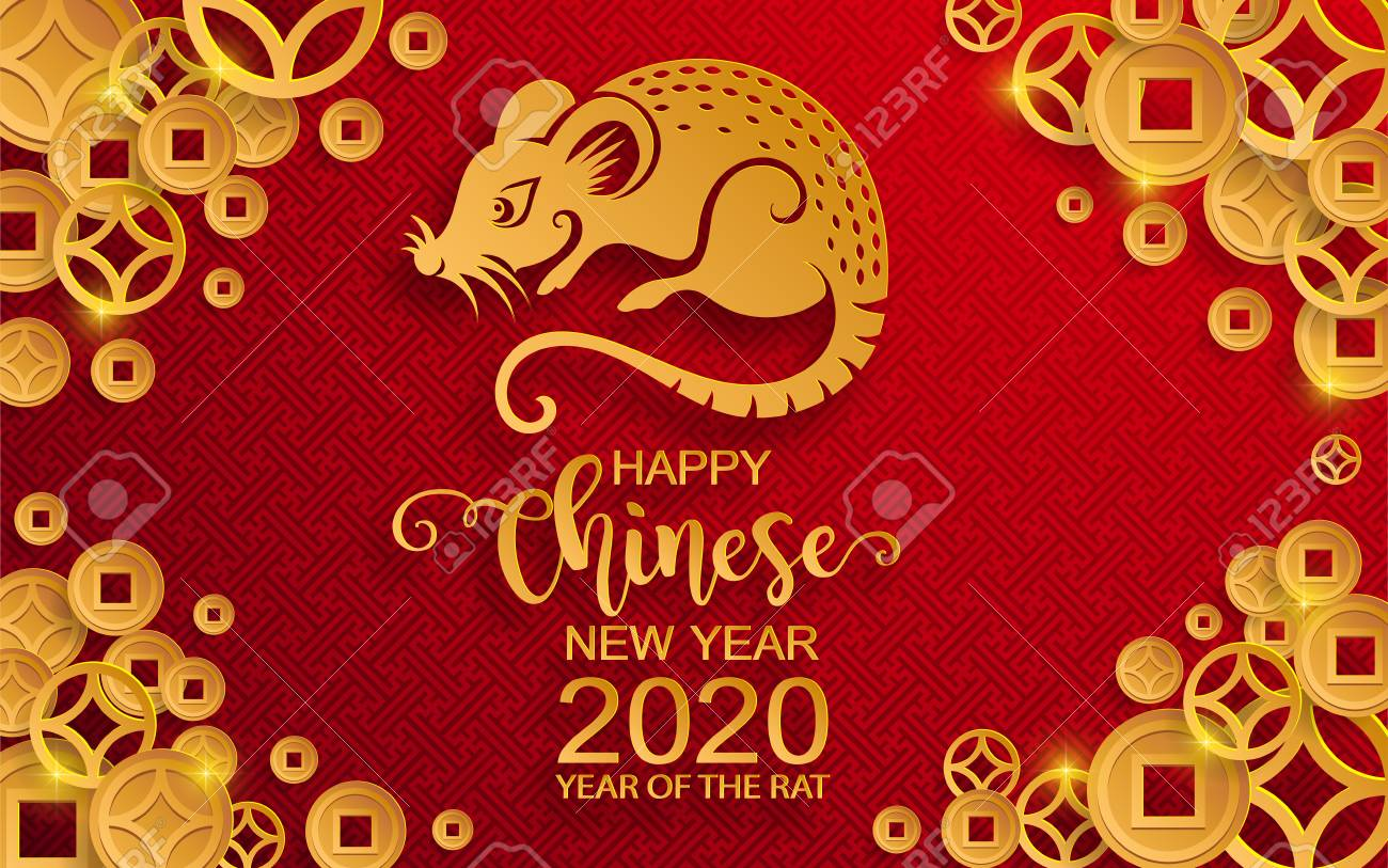 Chinese New Year 2020 Happy Chinese New Year 2020 Zodiac Sign With Gold Rat Paper Cut