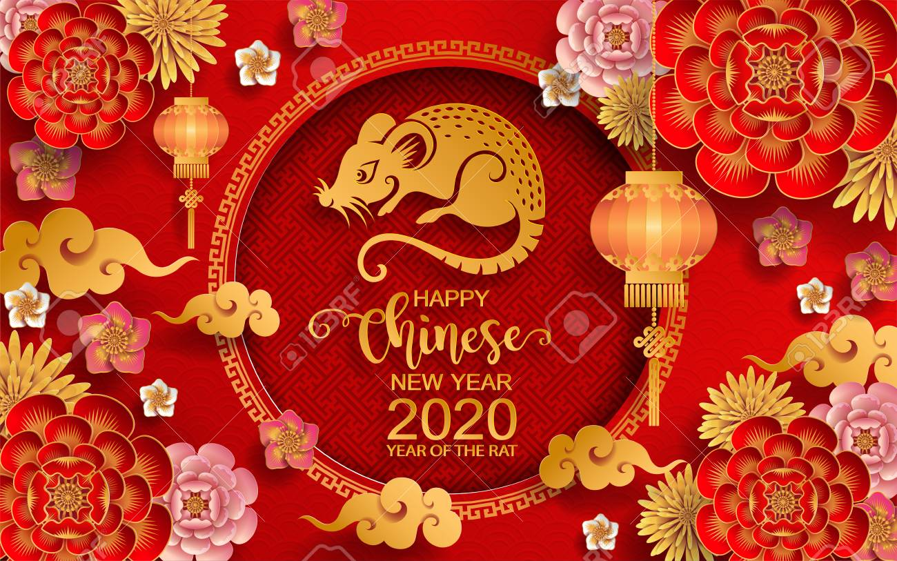 Asian New Year 2020.Happy Chinese New Year 2020 Zodiac Sign With Gold Rat Paper Cut