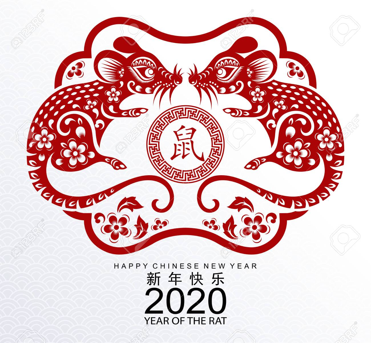 Happy Chinese New Year 2020 Year Of The Rat Paper Cut Rat Characterflower