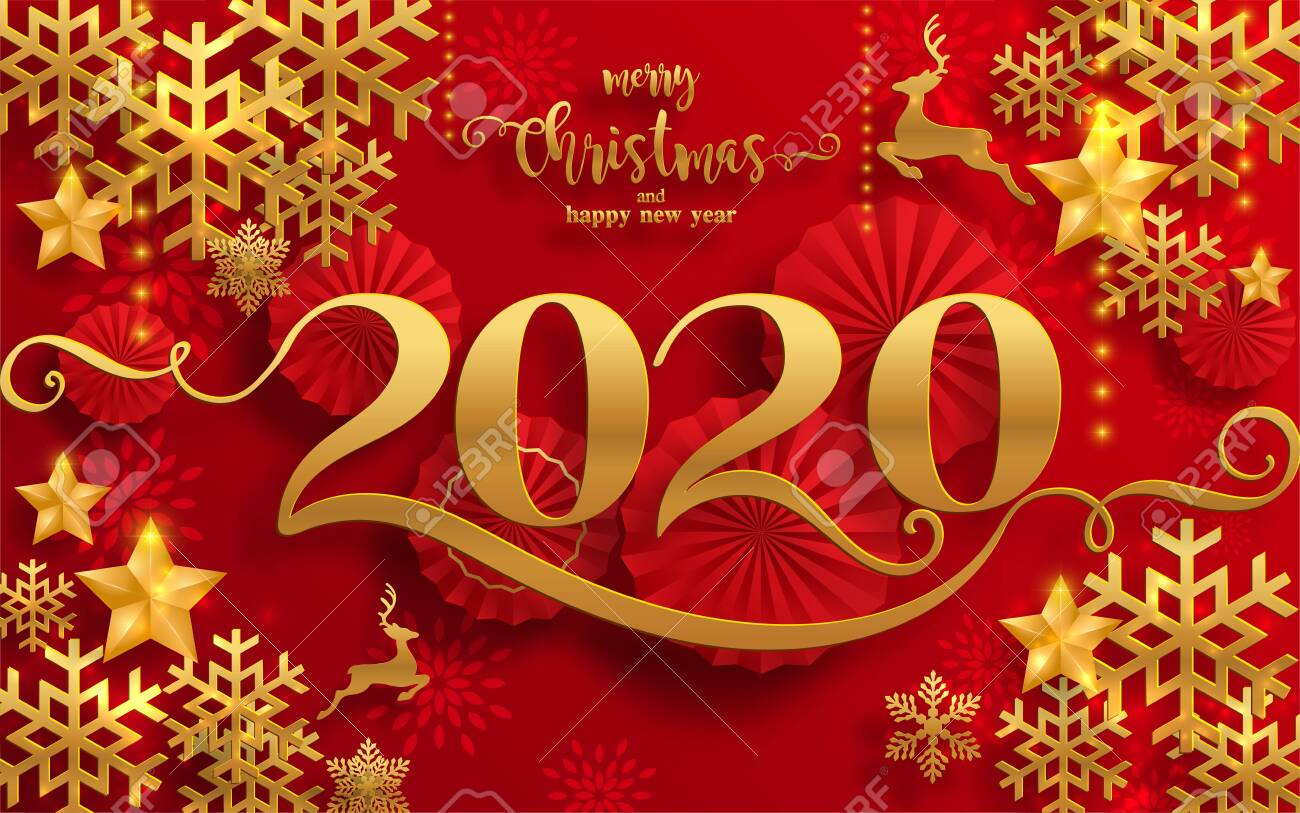 Merry Christmas Greetings And Happy New Year 2020 Templates With