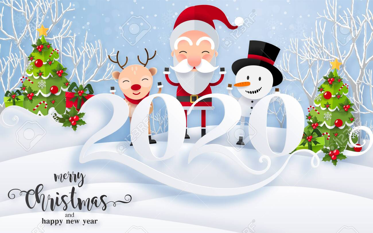 Merry Christmas And Happy New Year 2020.Merry Christmas Greetings And Happy New Year 2020 Templates With