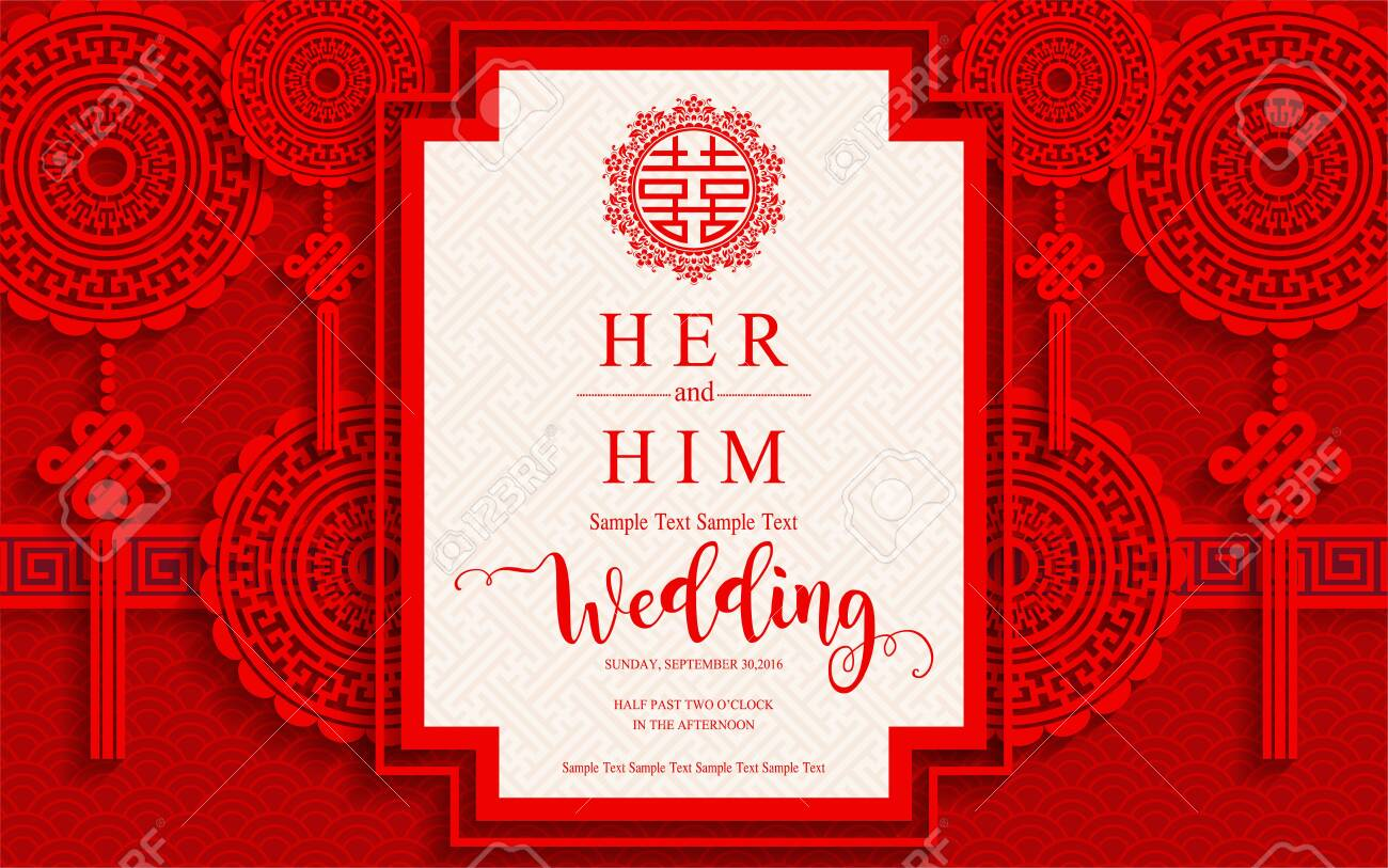 Chinese Oriental Wedding Invitation Card Templates With Beautiful