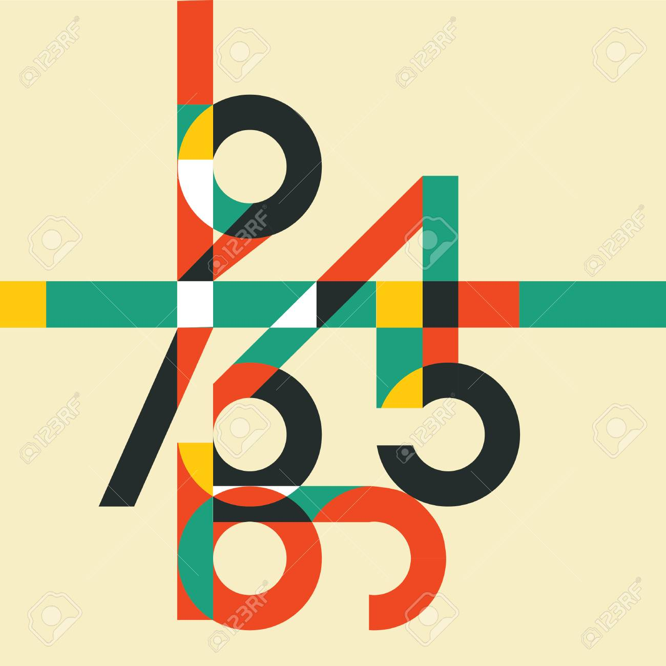 Mathematics Background With Colorful Numbers Abstract Math Symbols