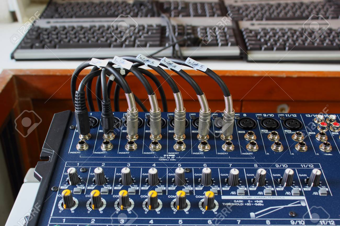 Connectors is connected to sound on mixer Stock Photo - 24979273