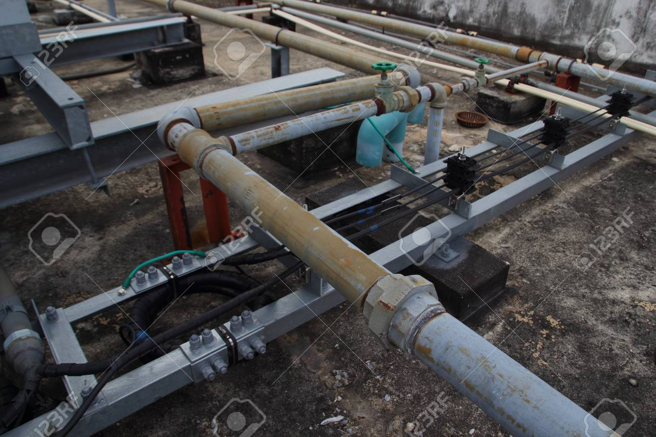 Plumbing Pipes, Wire On Roof Close Stock Photo, Picture And Royalty ...