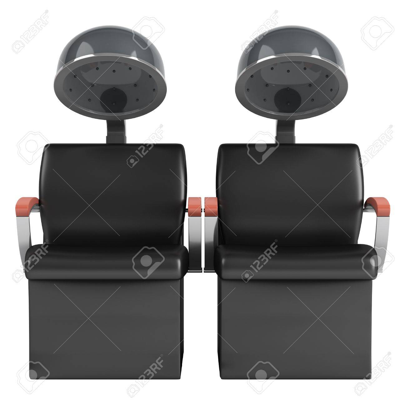 Double hair dryer chairs isolated on white background Stock Photo - 11977279
