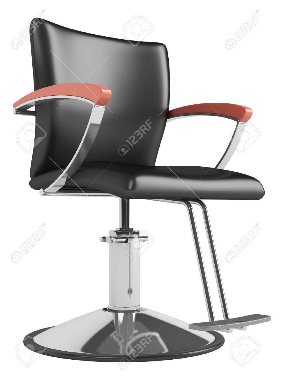 Noir Chaise Salon De Coiffure Isole Sur Fond Blanc Banque DImages