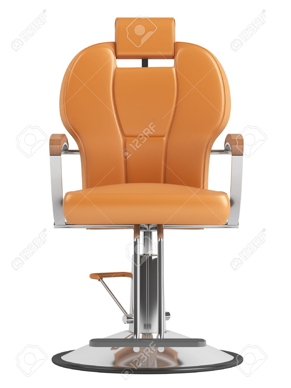 Hair salon chair isolated stock photos illustrations and vector art - Barbershop Chair Orange Hairdressing Salon Chair Isolated On White Background