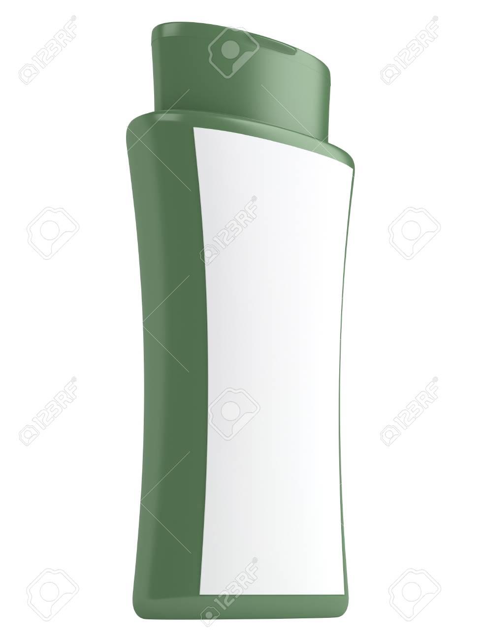 Immagini Stock Shampoo Verde Bottiglia Naturale Isolato Su Sfondo