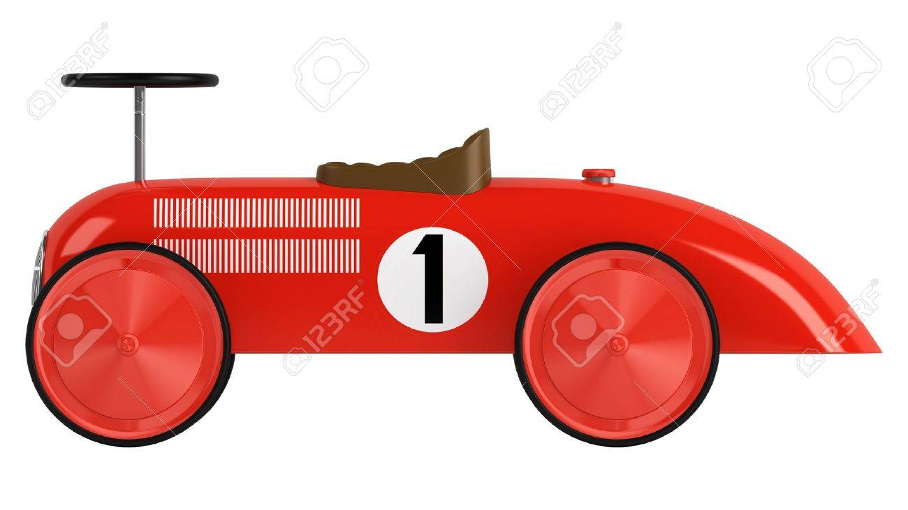 stylised simple red plastic toy racing car with a number one