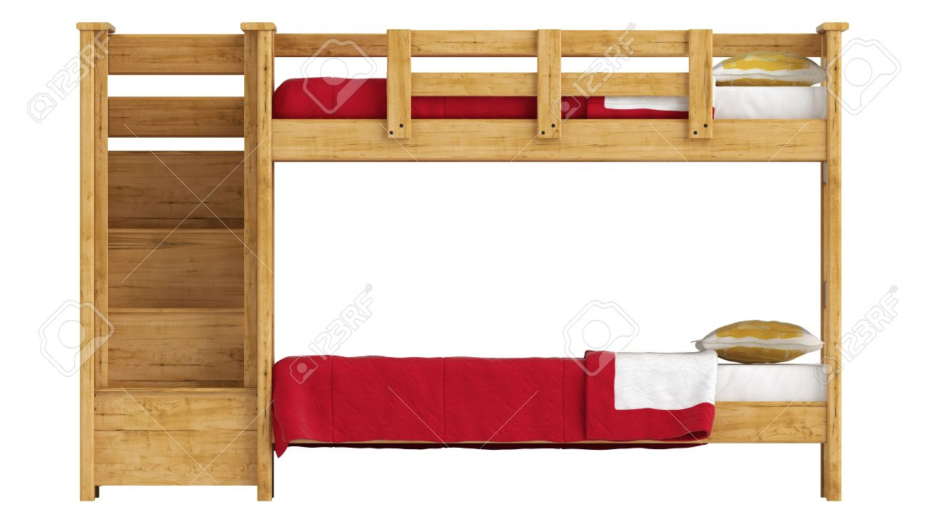 stock photo wooden double bunk bed with a lattice framework and stairs and red bedlinen isolated on white - Bunk Bed With Stairs