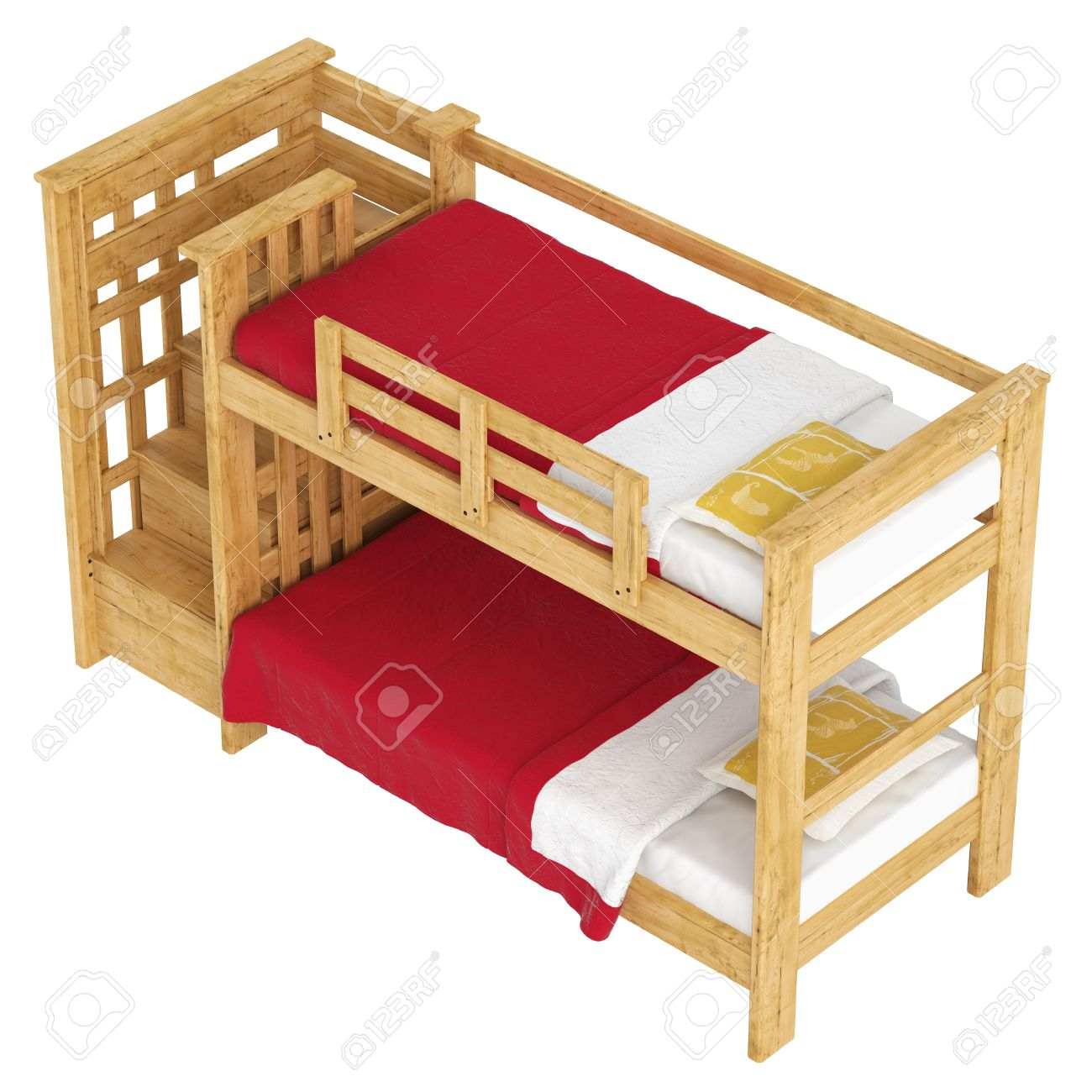 Wooden Double Bunk Bed With A Lattice Framework And Stairs Red Bedlinen Isolated On White
