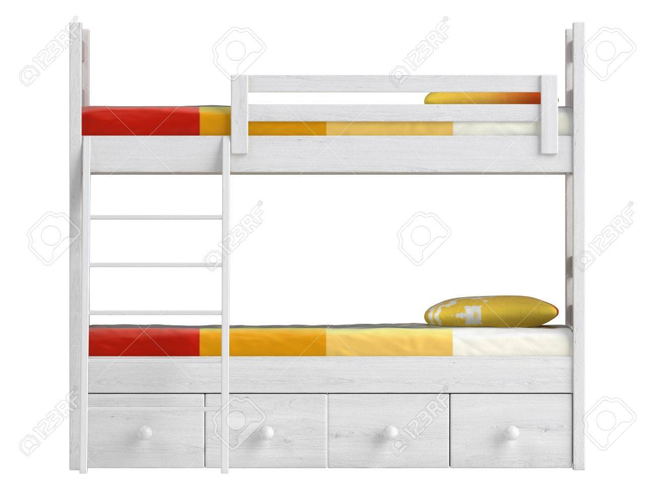 Picture of: Double Bunk Bed With Storage Drawers And A Ladder Painted White Stock Photo Picture And Royalty Free Image Image 15306956