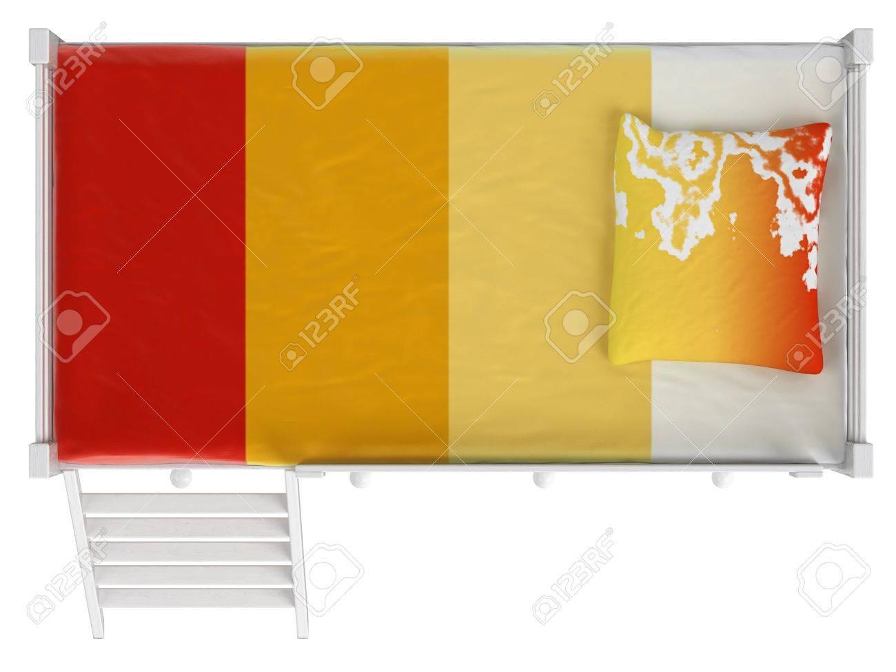 Doppel Etagenbett : Doppel etagenbett mit schubladen und eine leiter weiß lackiert