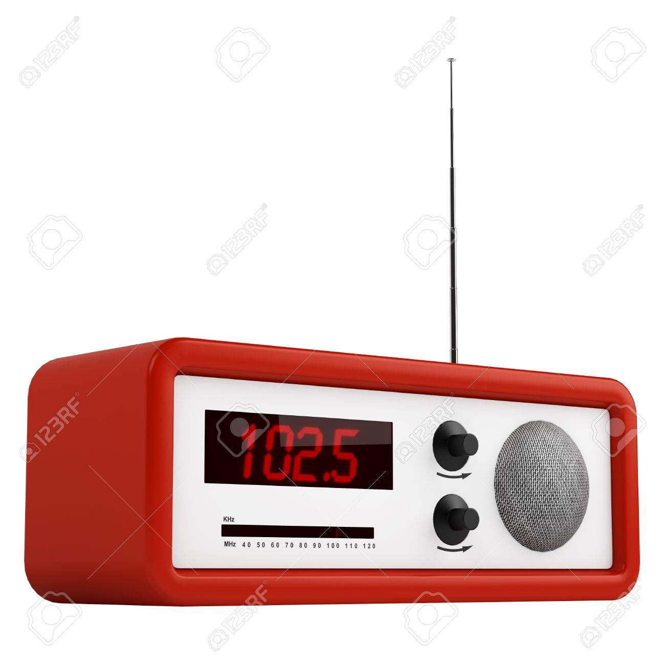 Red portable transistor radio with buttons, dial and aerial isolated on white Stock Photo - 15307117
