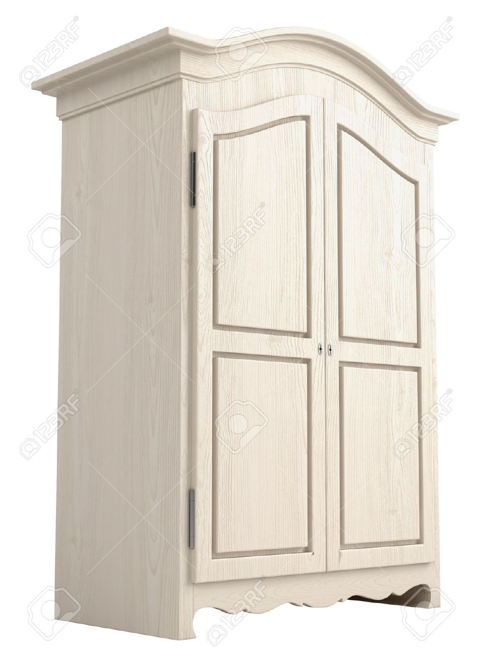 Rustic White Painted Wooden Cupboard With A Gable Top Isolated