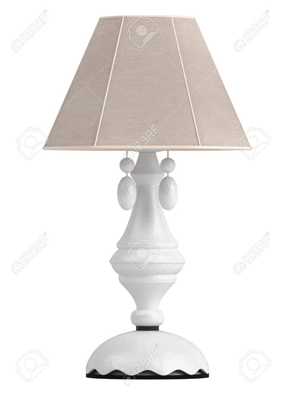 White lamp with hexagonal shade for the interior decoration of your living room isolated on white Stock Photo - 15518895