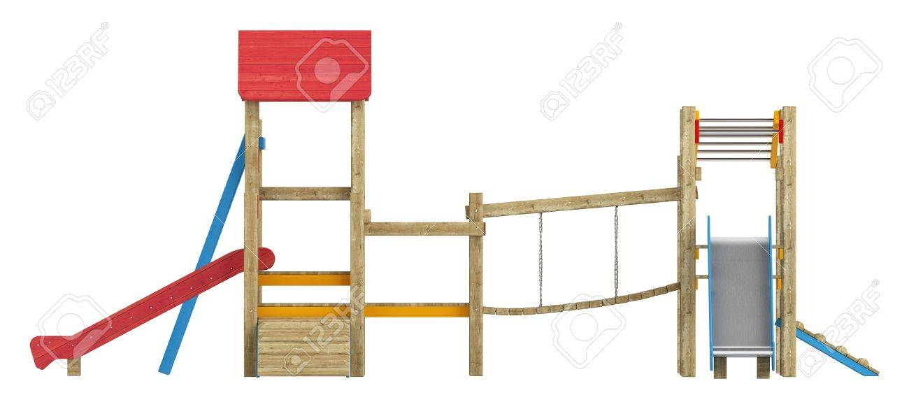 Wooden Childrens Playground Apparatus With Slides, Climbing Frames ...