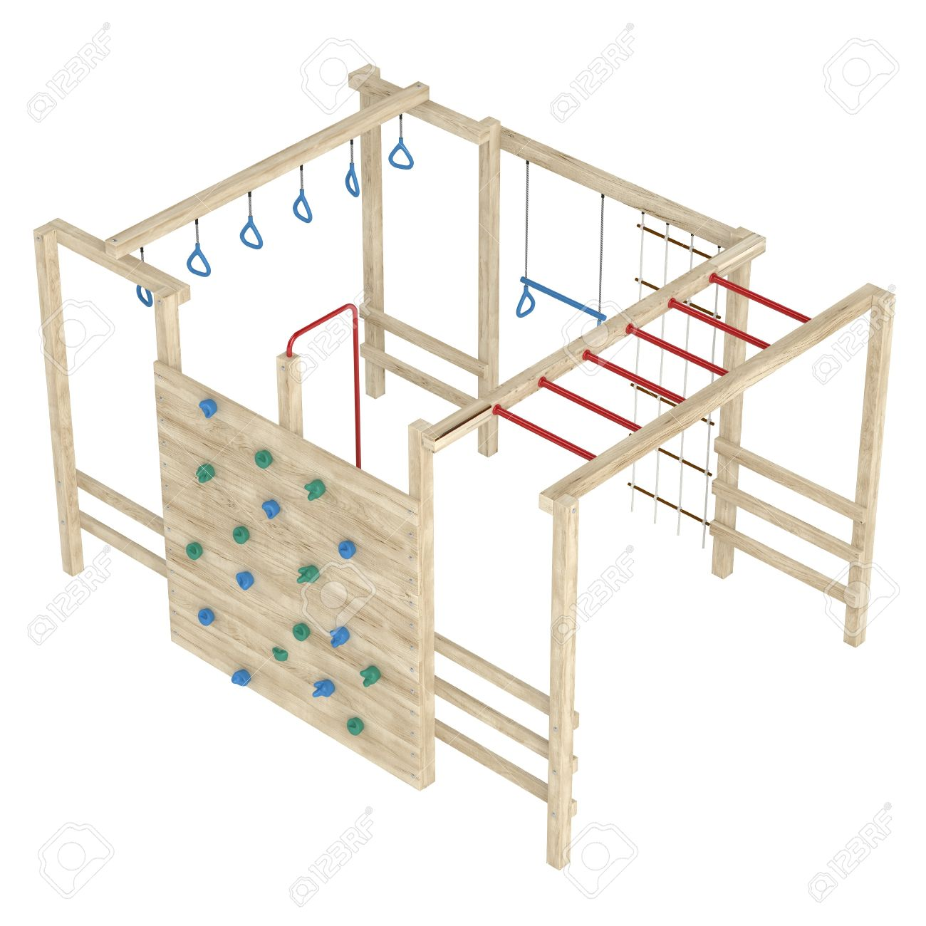 Wooden Jungle Gym Or Climbing Frame With Handholds, Footholds And ...