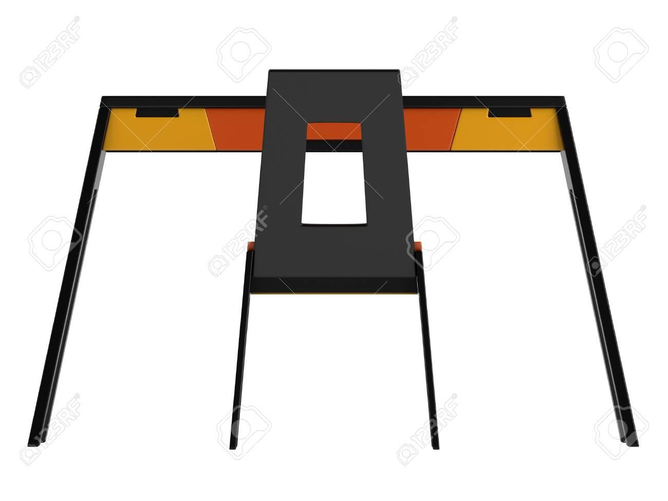 Mesa Silla Blanco En Un Y Decoración Amarillo Aislado Negro Moderno Con Fondo Naranja Juego 4ARLjq53