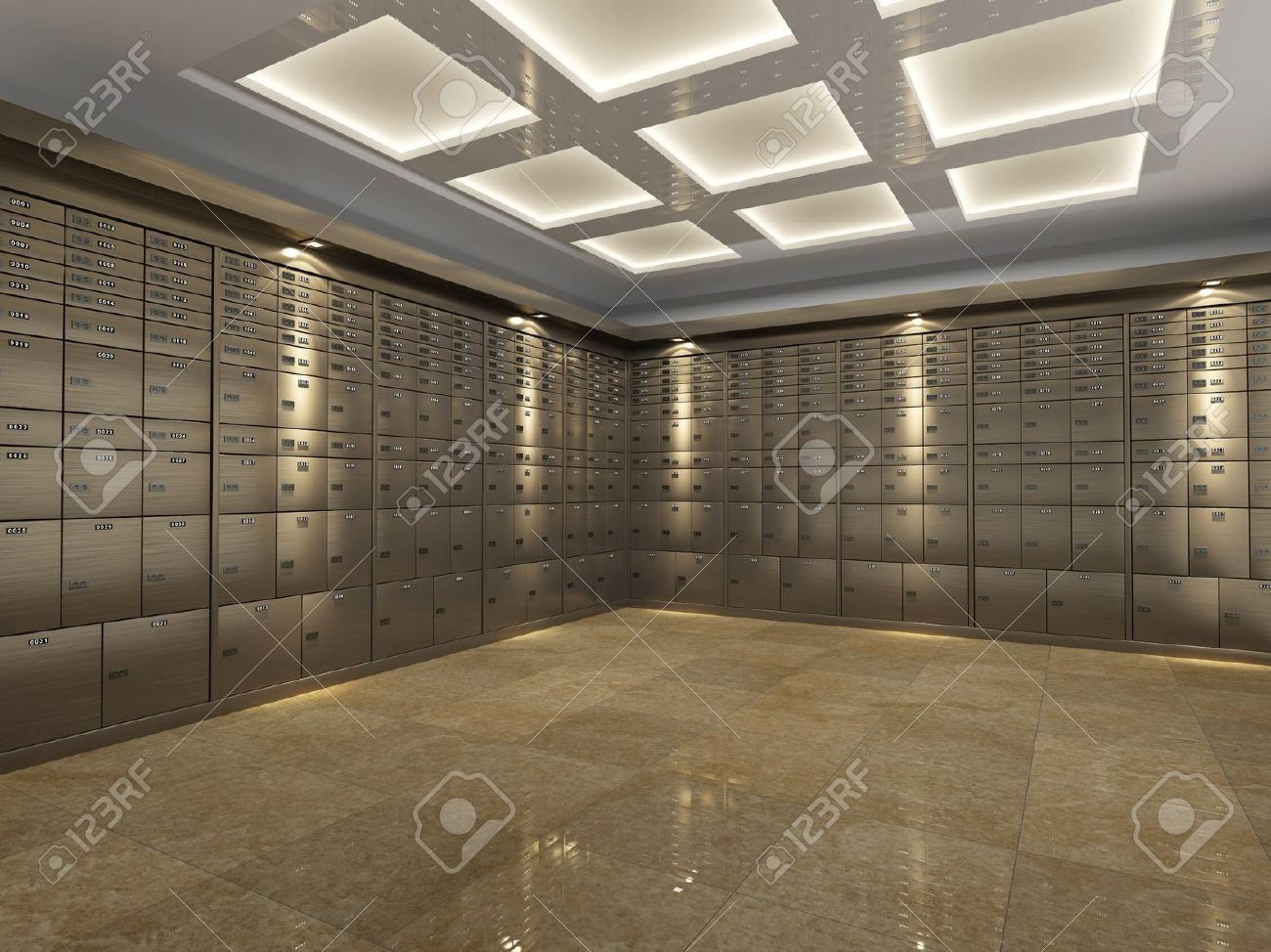 interior of a fireproof reinforced bank vault or safe room with