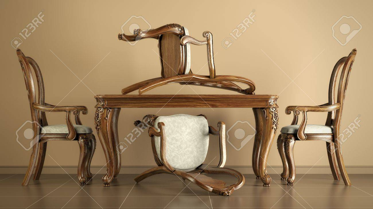 Set of four mahogany reproduction antique dining chairs and table Stock  Photo - 15780130 - Set Of Four Mahogany Reproduction Antique Dining Chairs And Table