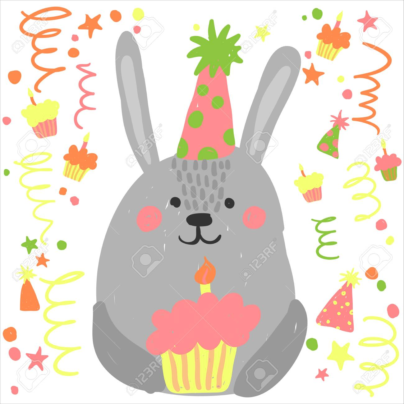 Cute Happy Birthday Card With Funny Animals Cartoon Vector Illustration Rabbit