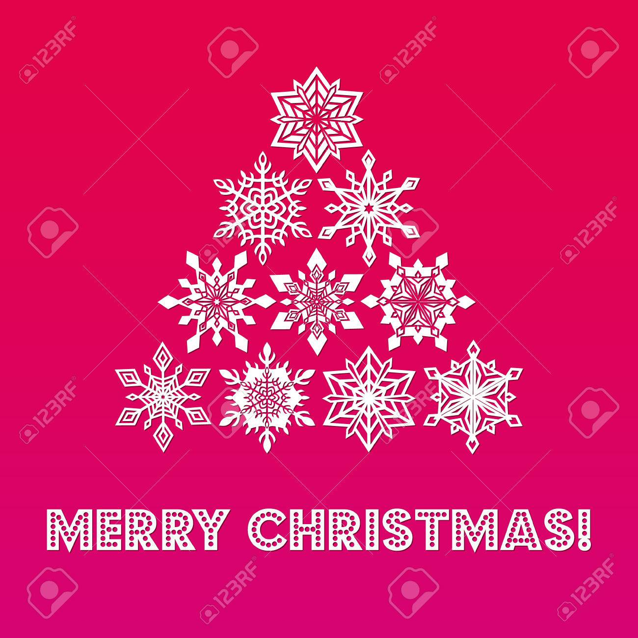 Merry christmas greeting card with words and abstract tree from merry christmas greeting card with words and abstract tree from white lace snowflakes on gradient red m4hsunfo