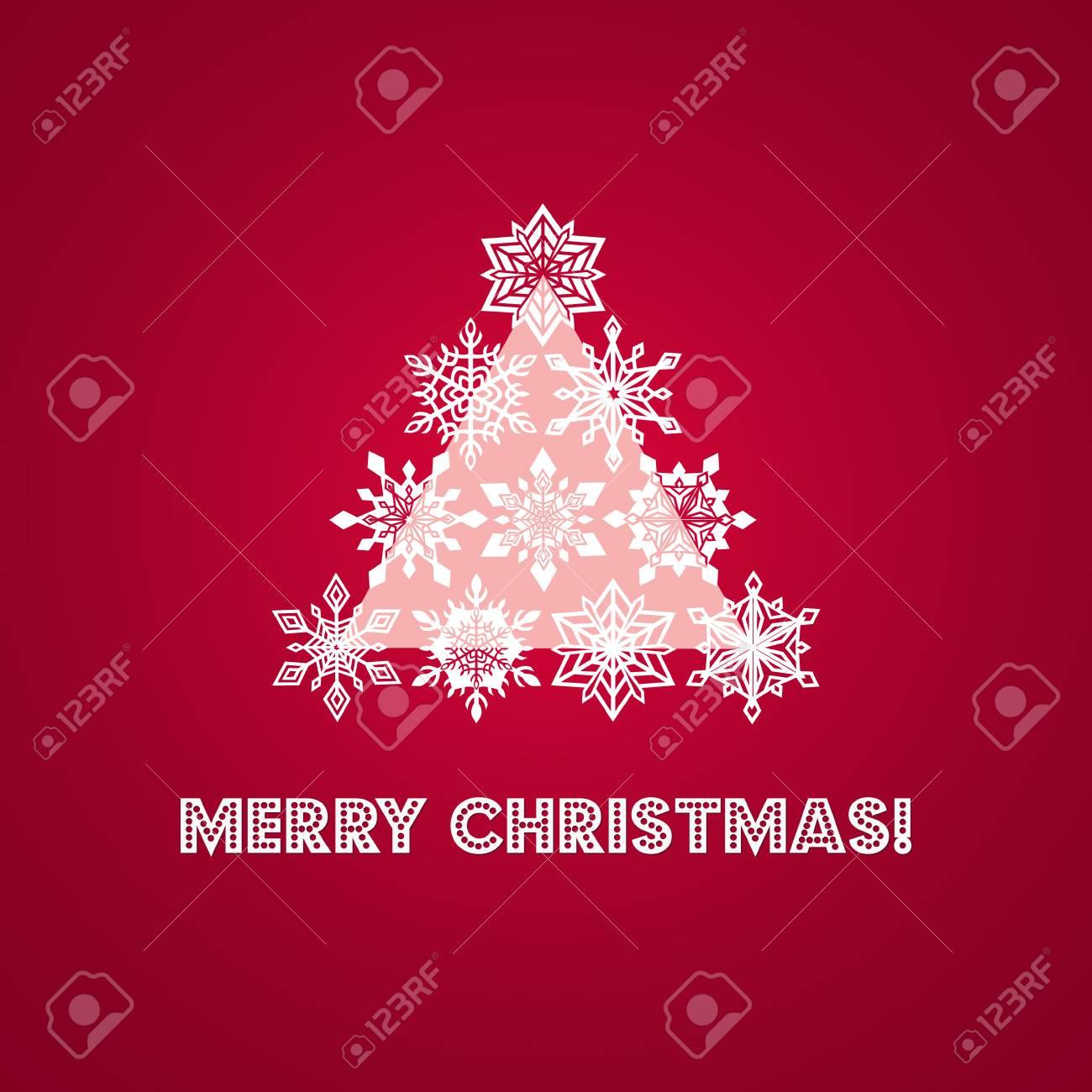 Foto Con Auguri Di Buon Natale.Auguri Di Buon Natale Con Le Parole E Albero Di Pizzo Bianco Snowflakes Piu Geometrica Triangolo Base Su Sfondo Rosso