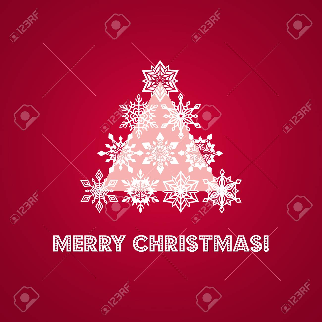 Merry christmas greeting card with words and tree from white merry christmas greeting card with words and tree from white lace snowflakes plus geometric triangle base kristyandbryce Image collections