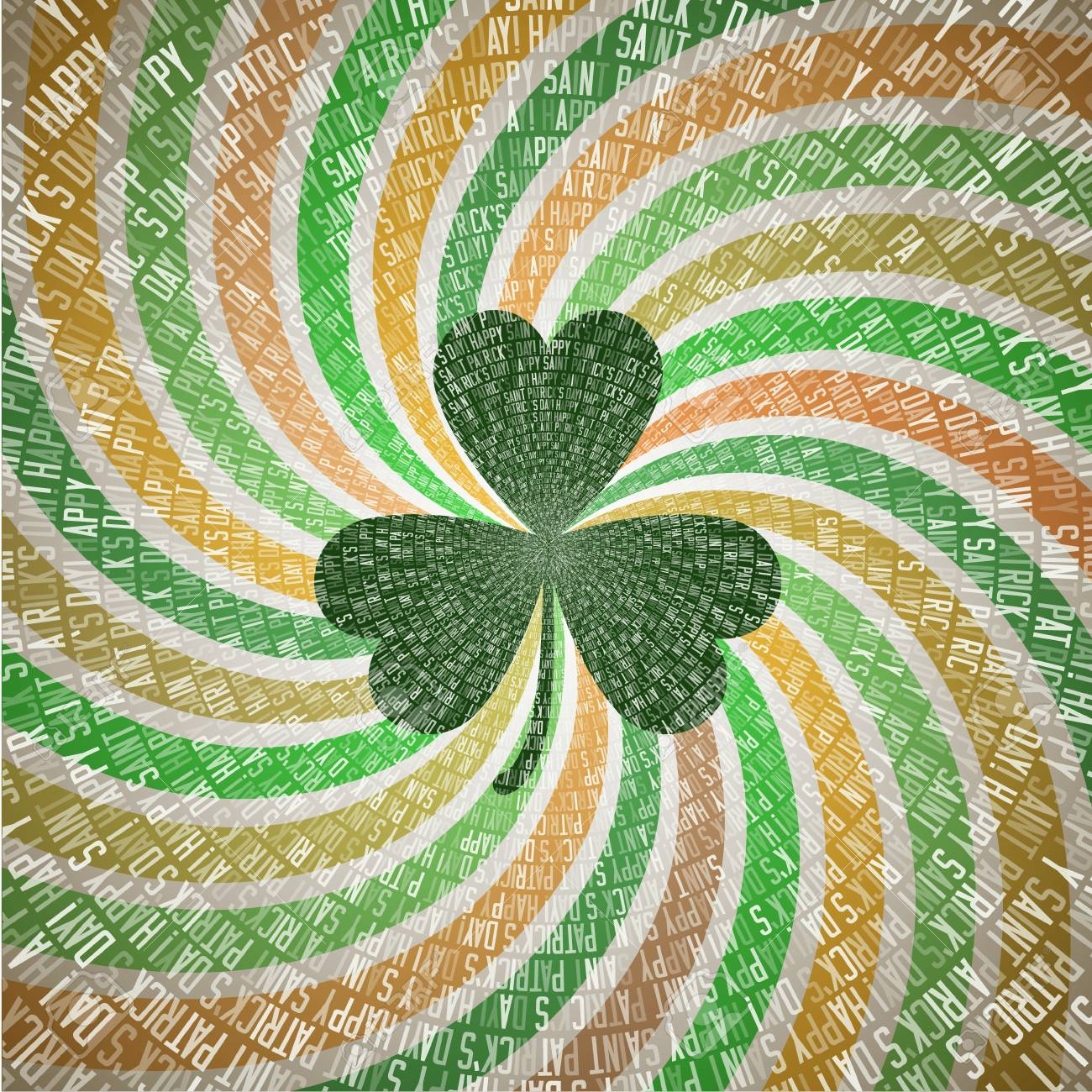 Happy Saint Patricks Day Greeting Card With Clover Leaf On Abstract