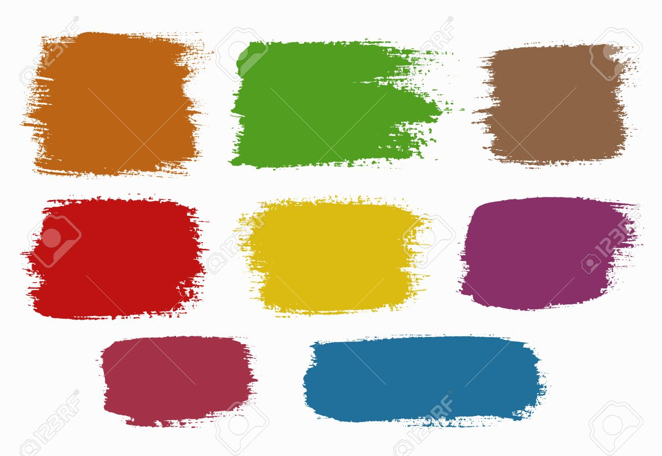 vector grunge brush strokes backgrounds set colorful rectangles rh 123rf com