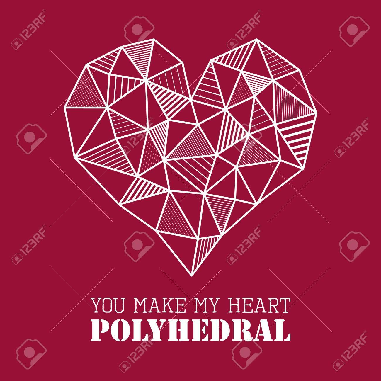 Vector Abstrakte Geometrische Polygonale Weißes Herz Mit Line Design Brut  Auf Marsala Rotem Hintergrund,