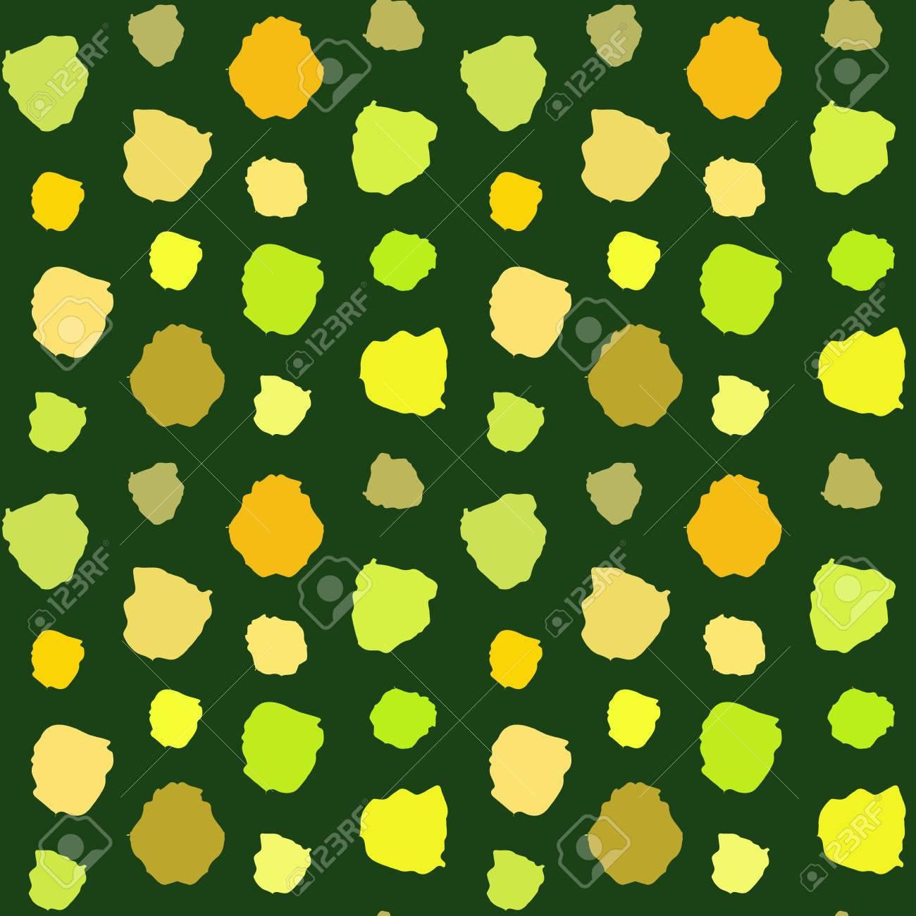 Vector Yellow And Green Polka Dot Seamless Pattern. Abstract ...