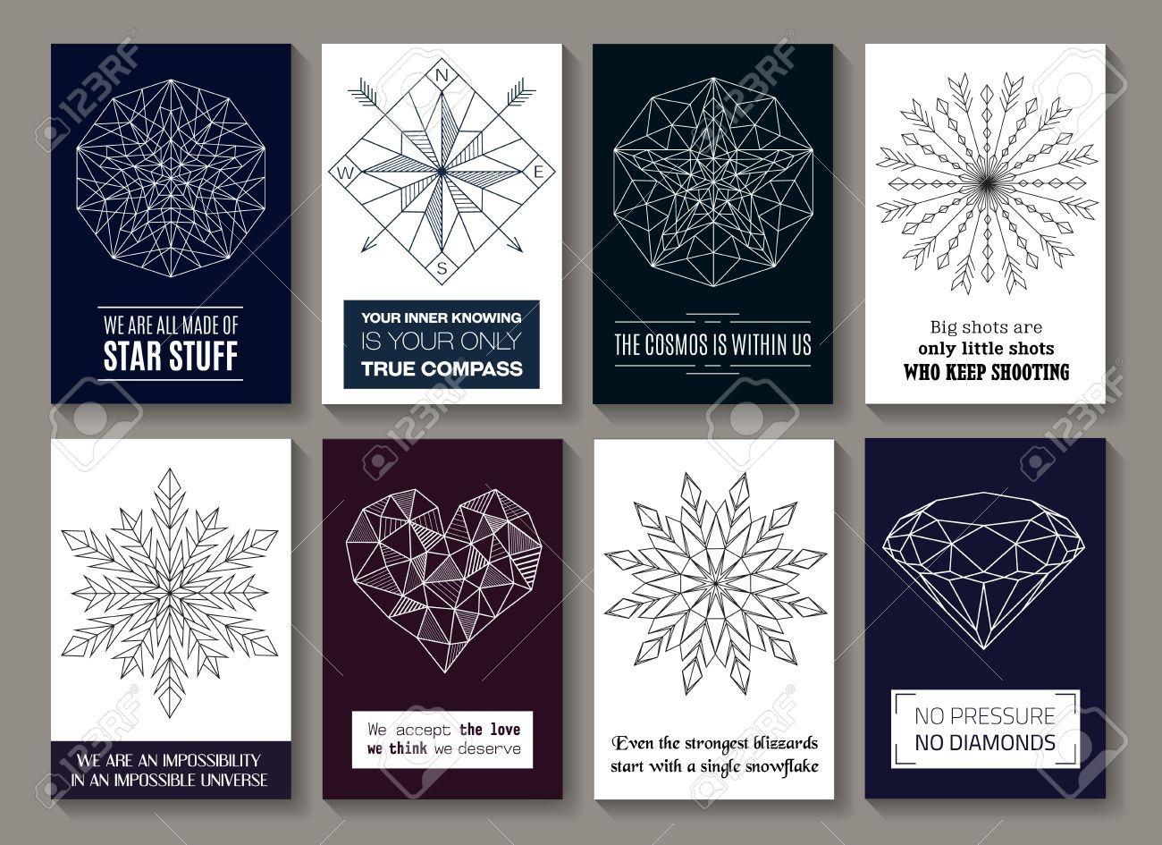 Vector Motivational Quotes On Cards With Images Of Star, Compass, Round  Ornament With Arrows