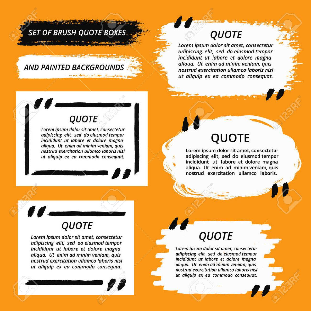 vector quote boxes and brush strokes set painted quotation marks vector vector quote boxes and brush strokes set painted quotation marks quote bubbles quotes blank templates and painted background set