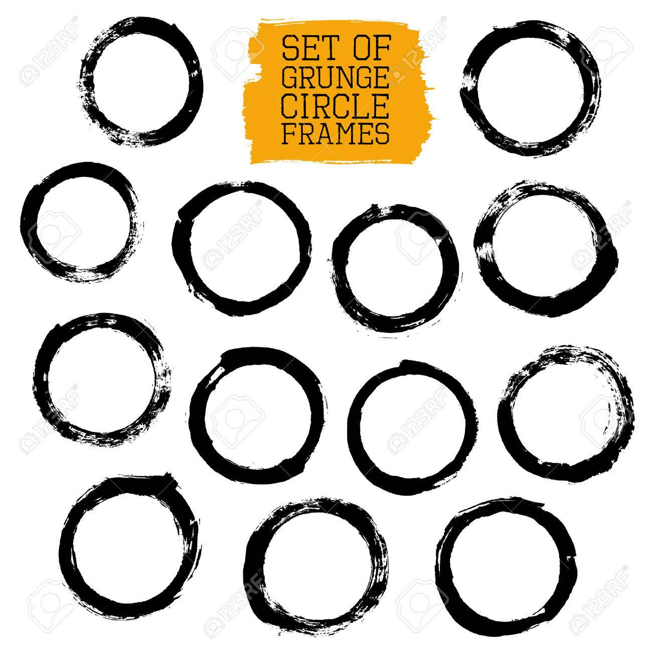 Vector Set Of Grunge Circle Frames. Collection Of Brush Strokes ...