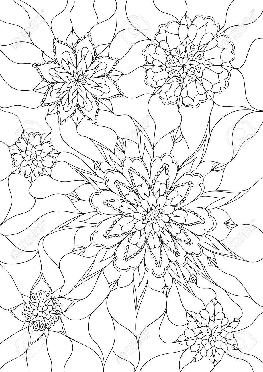 vector flowers coloring page monochrom image black and white