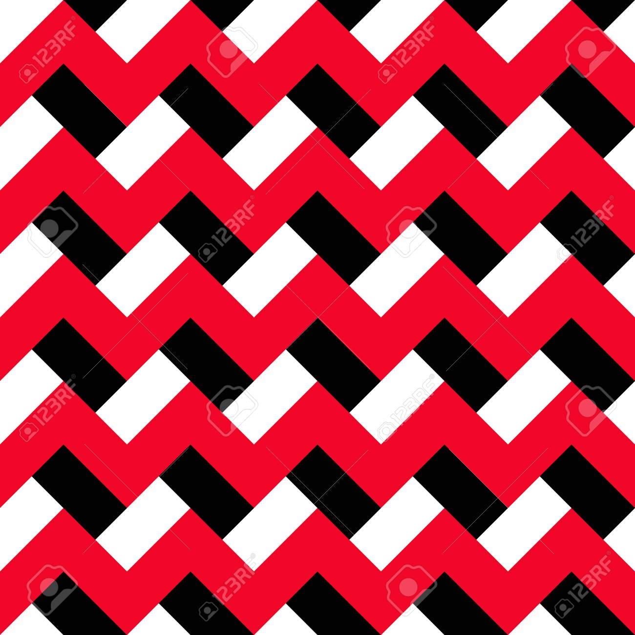 Rot, Weiß Und Schwarz Zick-Zack-nahtlose Muster. Abstrakte ...