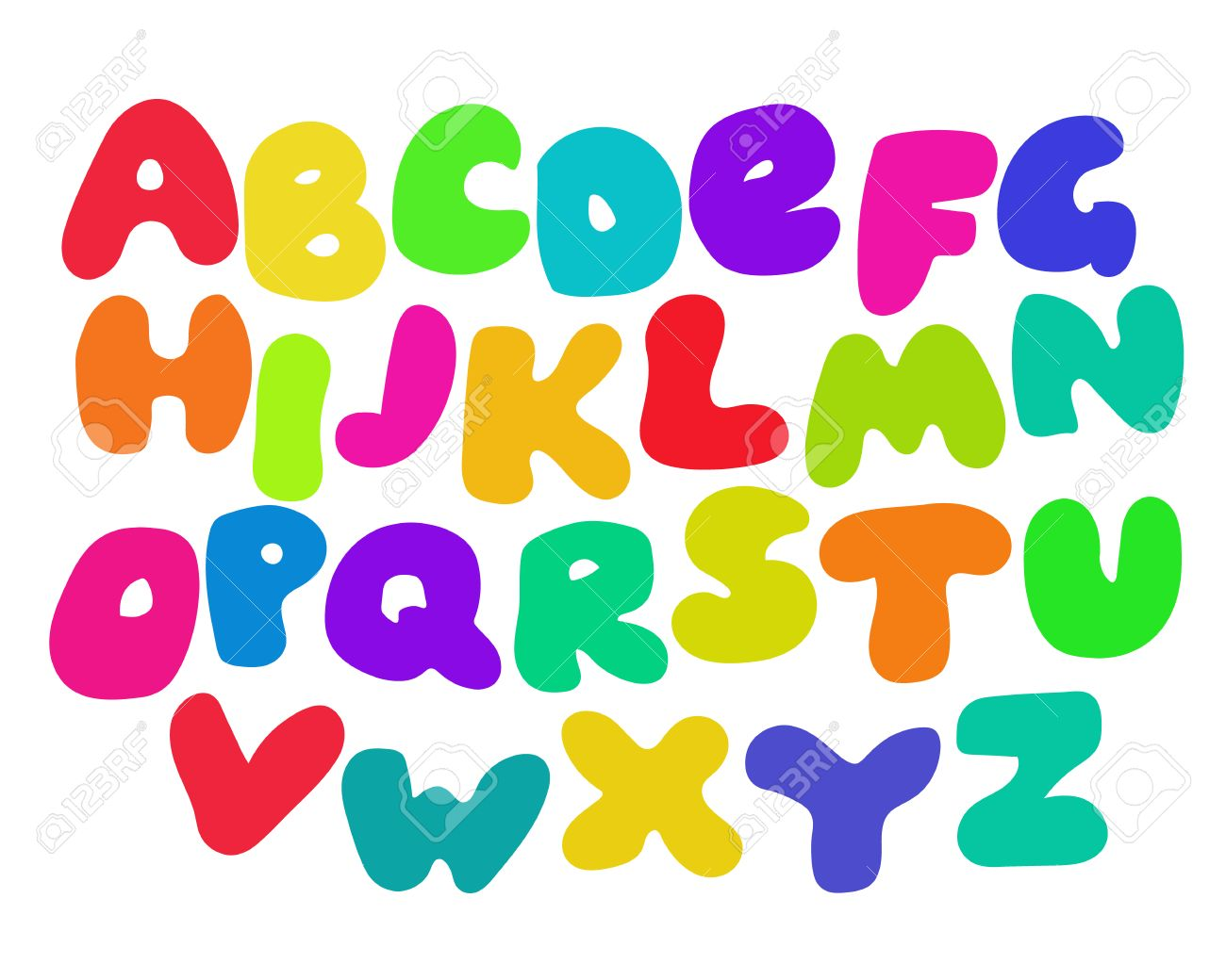 Funny Colorful Alphabet Poster For Children Cute Cartoon Alphabetic Letters In Vibrant Rainbow Colors