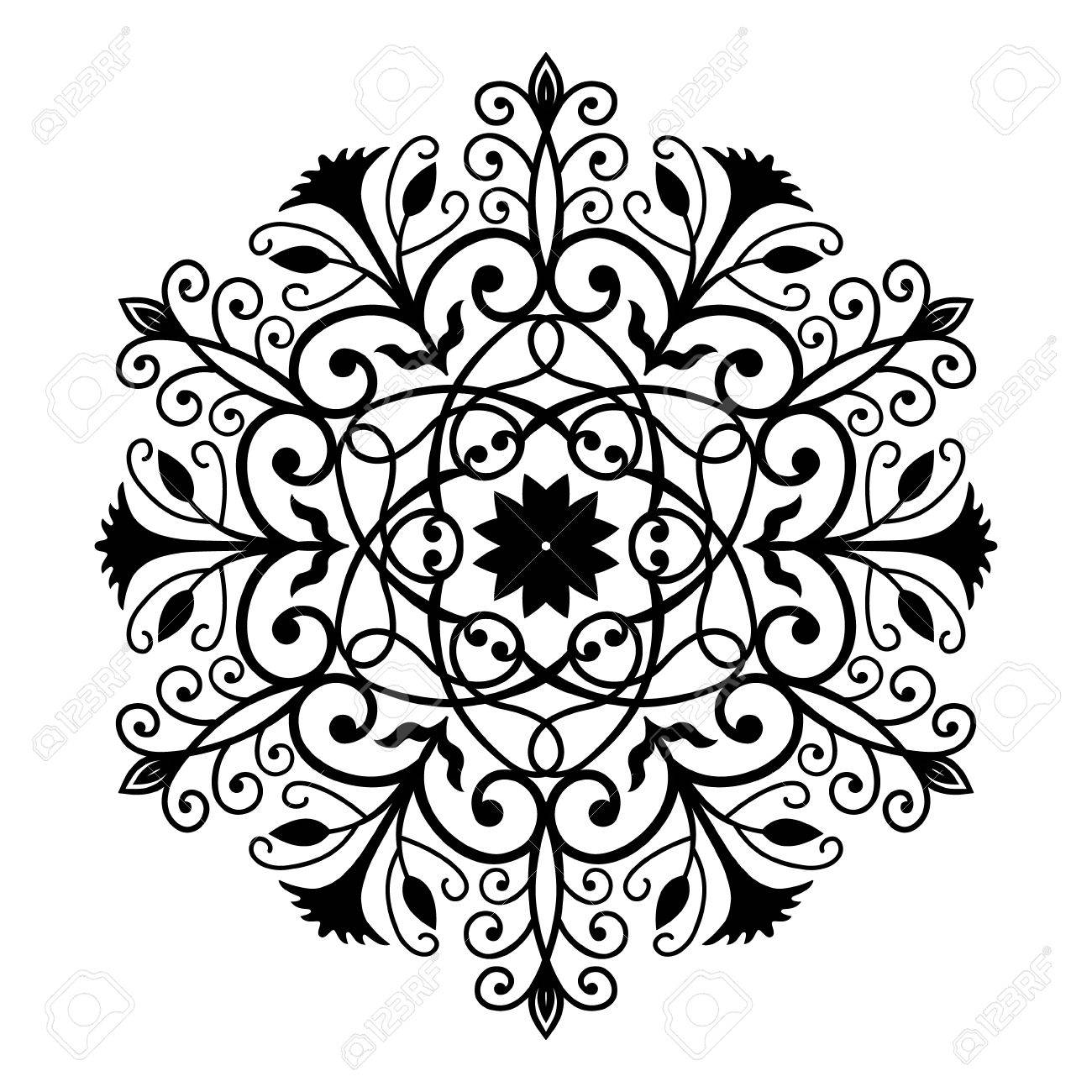 black forged round ornament intricate vector flower pattern rh 123rf com vector flower pattern free download vector seamless flower pattern