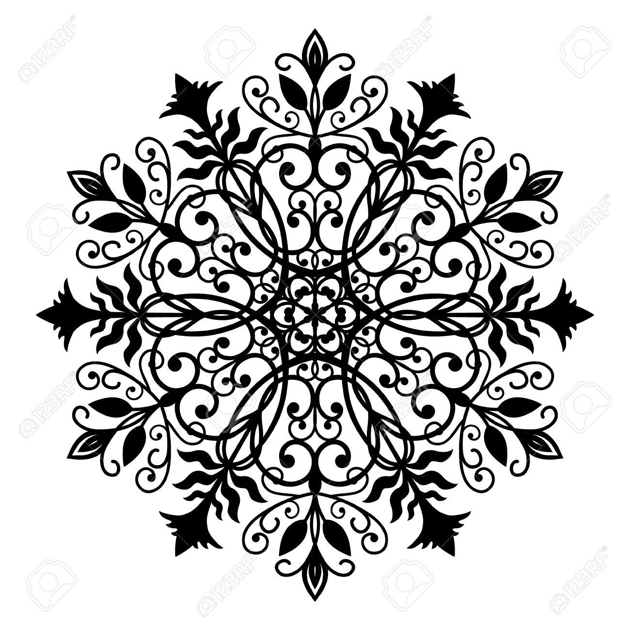 Forjado Negro Ornamento Oval. Modelo De Flor Del Vector Intrincado ...