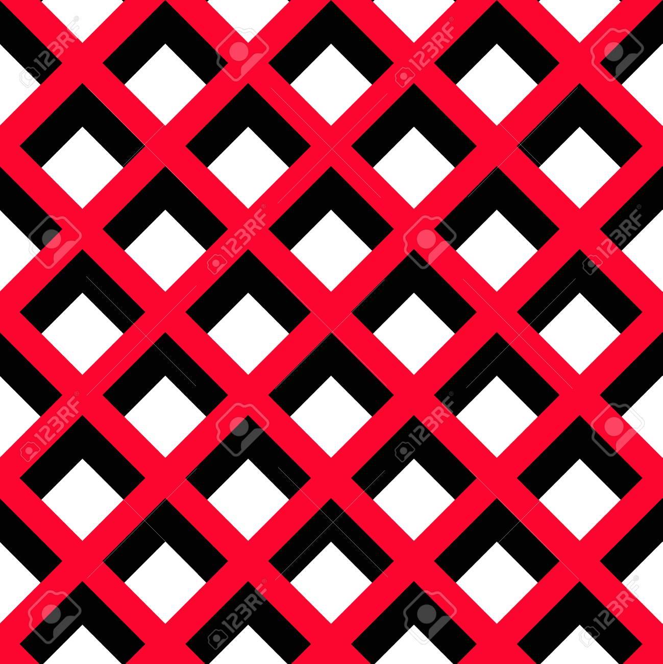 Fond De Vecteur Motif Geometrique Motif Carre Noir Et Rouge Sur Fond Blanc Motif Decoratif Pour Papier Peint Mobilier Decoration Interieure Tissu