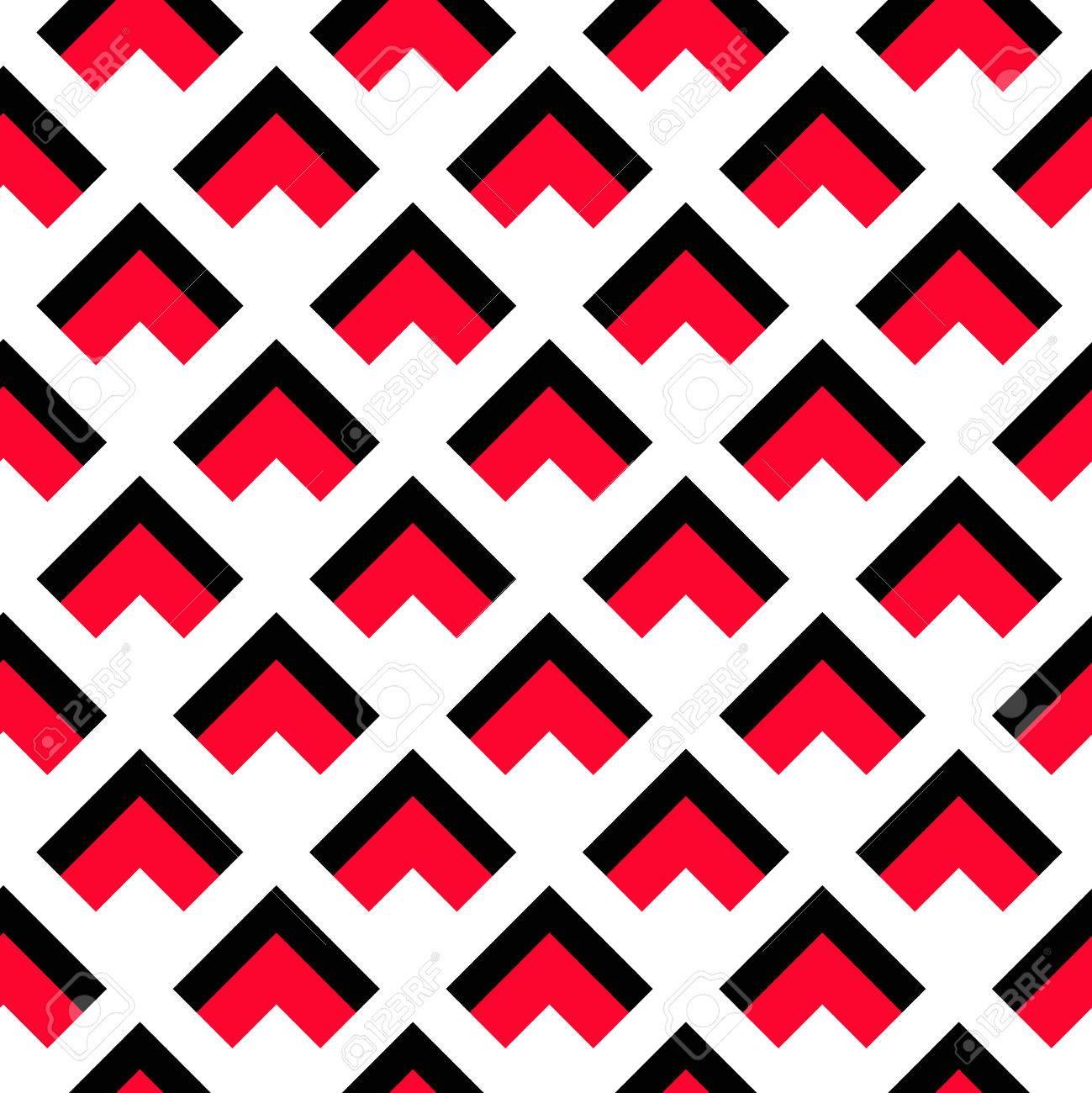 Vecteur De Fond Motif Geometrique Noir Motif De Triangle Rouge Sur Fond Blanc Motif Decoratif Pour Le Papier Peint Les Meubles La Decoration Le