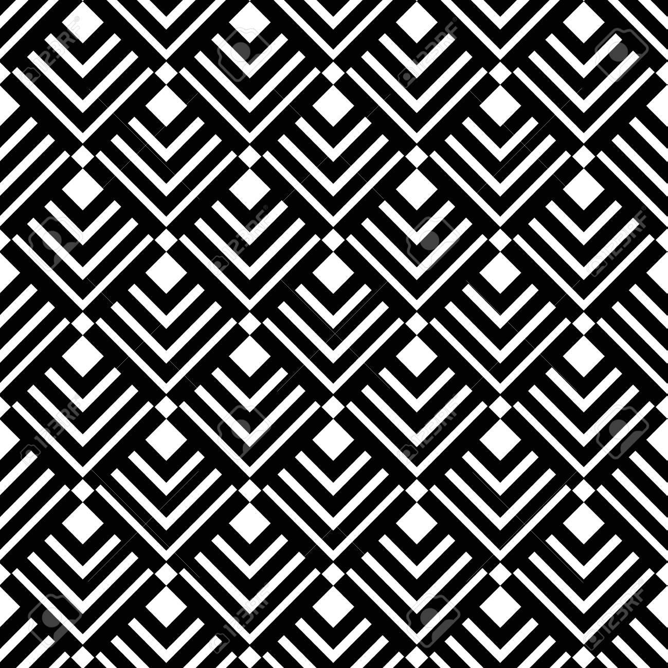 Motif Géométrique. Noir Et Blanc Triangle Et Motif à Rayures. Motif  Décoratif Pour Le Papier Peint, Les Meubles, La Décoration, Le Tissu De La  Mode.