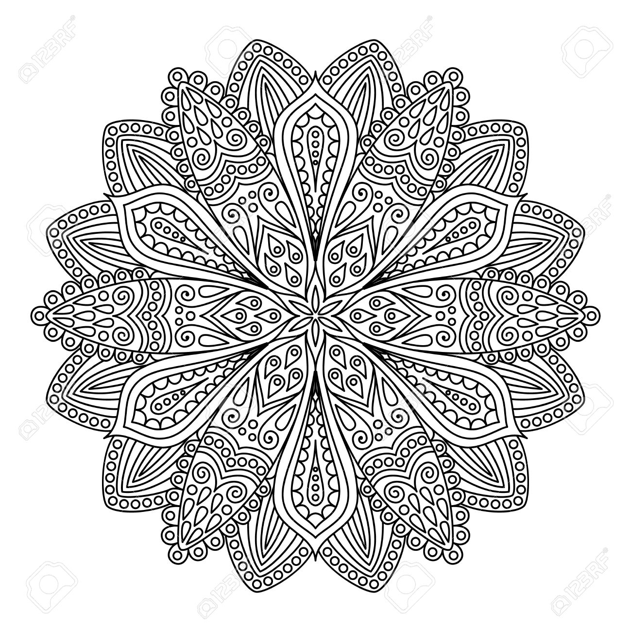 Line Flower Coloring Page Monochrome Image Black And White Unusual Floral Pattern For
