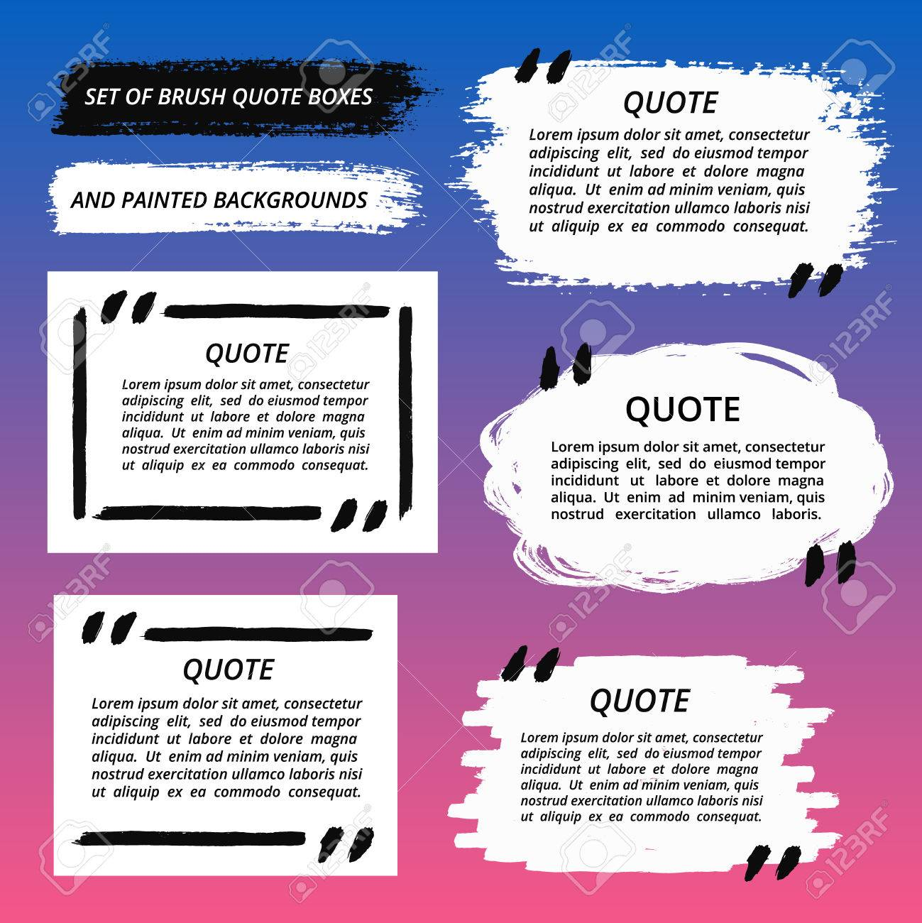 Quote Boxes And Brush Strokes Set Painted Quotation Marks Quote